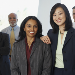 group shot of professional diverse employees