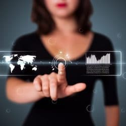 woman pointing forefinger towards a graph line in 3D