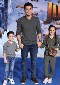 Mario Lopez with his two children pictured at Hollywood event