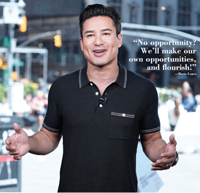 Mario Lopez pictured with a quote that reads about opportunities