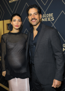 Adam Rodriguez & Wife pose together at entertainment event