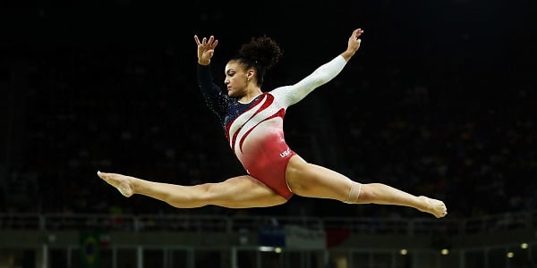 Laurie Hernandez doing gymnastics