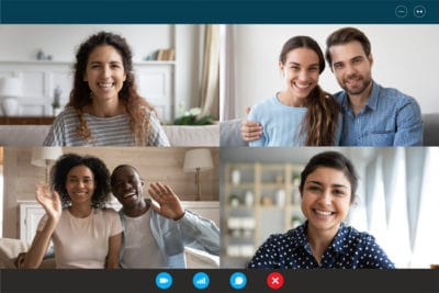 Laptop webcam screen view multiethnic families contacting distantly by videoconference. Living abroad four diverse friends making video call enjoy communication, virtual interaction modern app concept