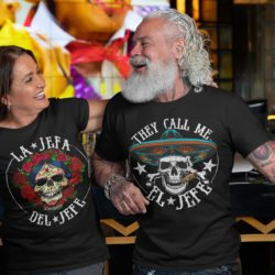 Latina and Latino wearing shirt with Sugar Skulls