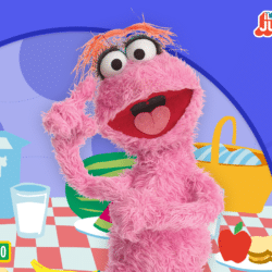 Sesame Street character smiling with animated background