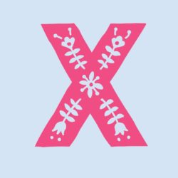 """pink """"X"""" for Latinx with flowers with grey background"""