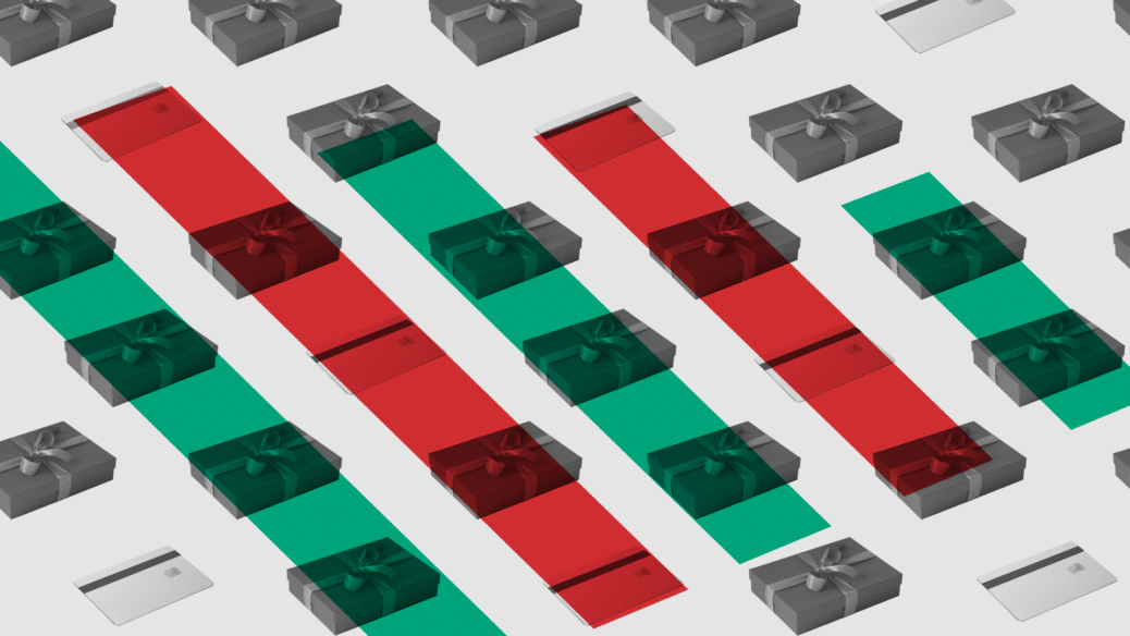 Image of presents, with green and red lines on top
