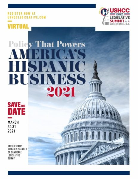Flyer with information for the American Hispanic Business Virutal Summit