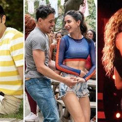 three separet photos have been croppedtogether. THesephotosform left to right include a man with a yellow and white striped shirt smiling at the camera, two people dancing and laughing, and artist Shakira performing live at a concert.