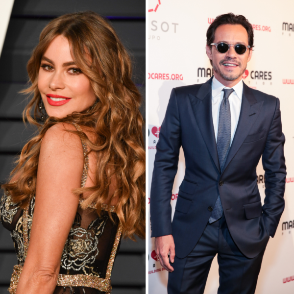 Two photo graphs side by side, the photo on the left features sofia vergara looking over her left shoulder while smiling at the camera. The right photo pictures Marc Anthony wearing a suit and sunglasses posing with his left hand in his pocket.