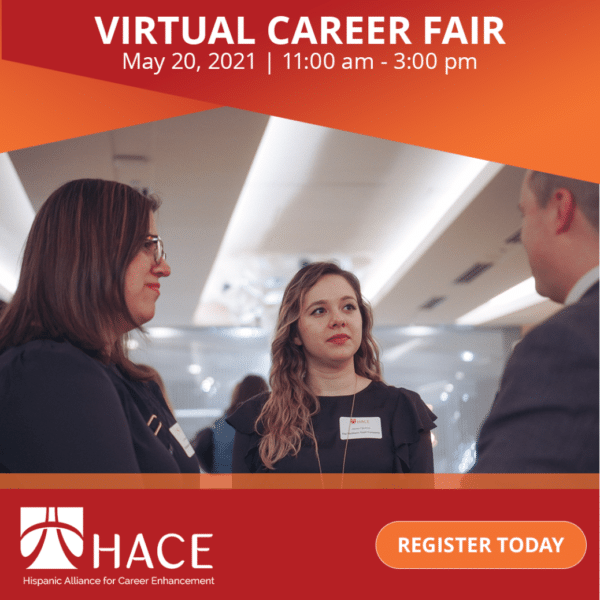 HACE career fair flyer with stock photo of three business people talking to one another in a circle