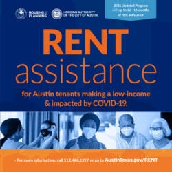 RENT assistance program flyer with picture of nurses and doctors wearing masks