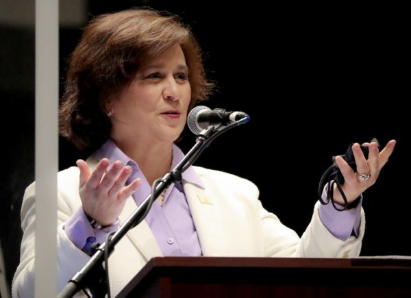 Secretary of State Nellie Gorbea before giving the oath of office to state representatives at Veterans Memorial Auditorium in Providence, R.I.,
