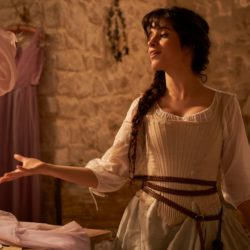 Camelia Cab dressed as cinderella onset of her new film