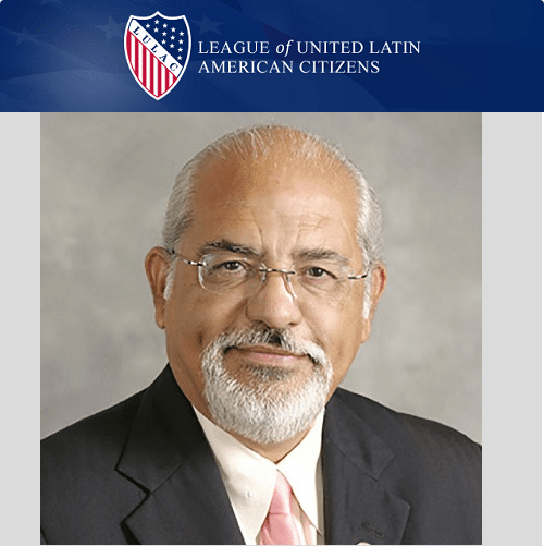 Rick Dovalina headshot with the official LULAC banner logo at the top