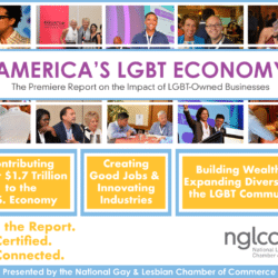 """Collage with diverse people and """"America's LGBT Economy"""" Title in the middle"""