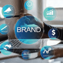 woman tying on computer with the word brand and other business symbols surrounding the image
