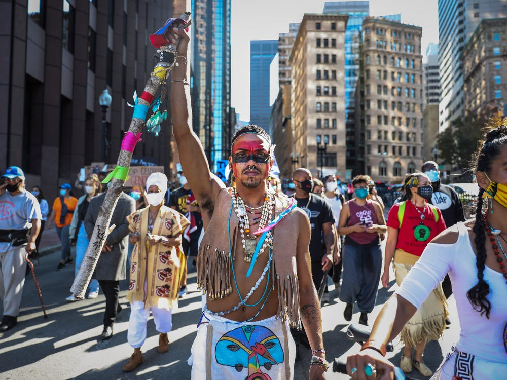 Indigenous peoples day celebration in the street