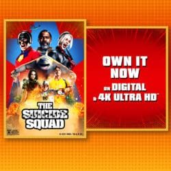 The Suicide Squad promo with action photo and own it on digital